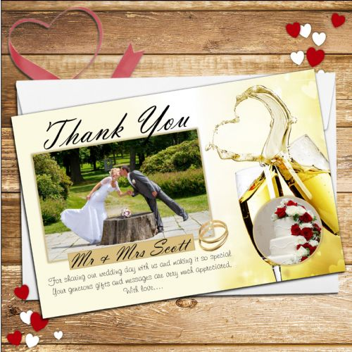 10 Personalised Champagne Flutes Wedding Thank you PHOTO cards N216